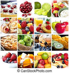 colagem, frutas