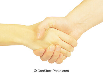 Shaking hands of two people, man and woman