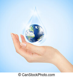 Drop of water with Earth inside and hand. The symbol of Save...
