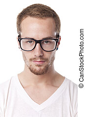 Good Looking Man With With Retro Nerd Glasses - Good Looking...