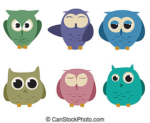 Owls - set of six cartoon owls with different expressions