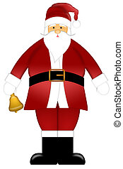 Santa Claus Ringing Bell Clipart Isolated on White Background