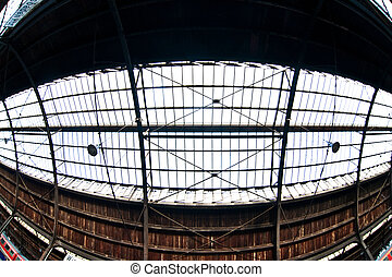 roof of classic trainstation in Wiesbaden - roof of glass of...