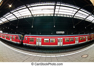 classic trainstation in Wiesbaden with trains