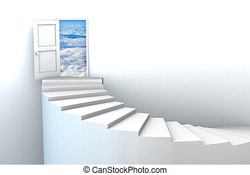 3d Stairs to open heavens door - Stairs to heavens door...