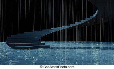 3d stairs rainy - 3d success Stairs composition under rain