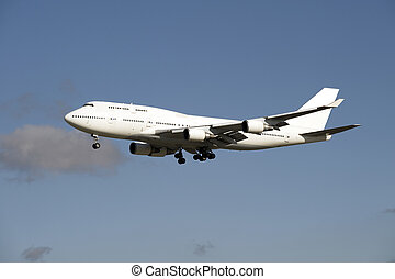 Airplane Boeing 747, plain white, for design layout