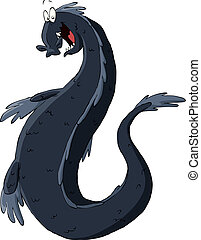 Black dragon - The dragon on a white background, vector