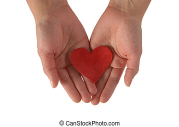 Hands with a red heart