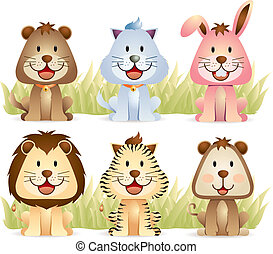 Cute Animals Collection - cartoon illustration of cute...