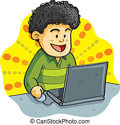 Boy Playing Laptop - cartoon illustration of boy playing...
