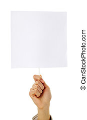 Announcement - Image of human hand holding empty paper in...