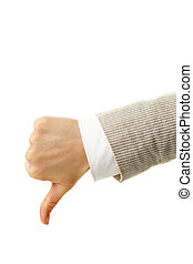 Thumb down - Image of human hand showing thumb down in...