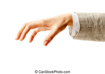 Grabbing - Image of human hand keeping palm down on white...