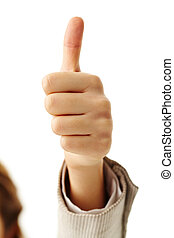 Excellent - Image of human hand showing thumb up in...