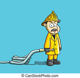 Fireman Holding Hose - cartoon illustration of fireman...