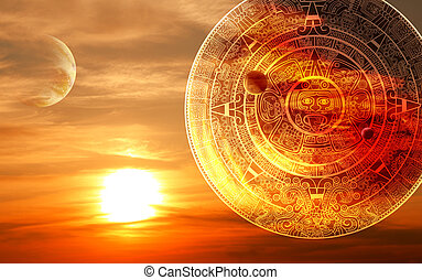 Maya prophecy - Fantasy sunset and Maya calendar