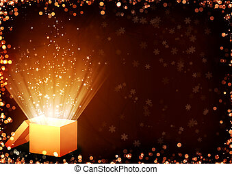 Christmas fairy-tale. Horizontal background with magic box