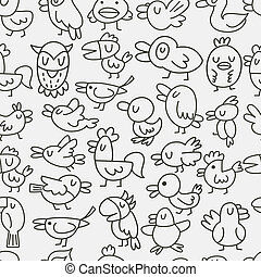 hand draw bird seamless pattern