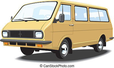 Mini bus - Vector isolated mini bus, passenger and cargo,...