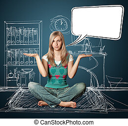 woman in lotus pose with speech bubble - woman in lotus pose...