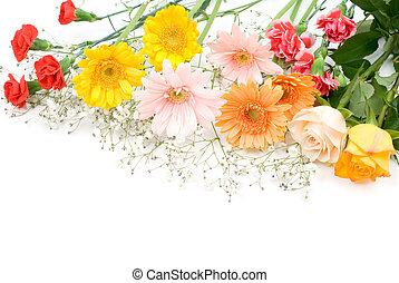 Colorful bouquet - Bright colorful bouquet on a white...