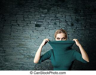 fashion ninja woman in ruins - fashion ninja woman in old...
