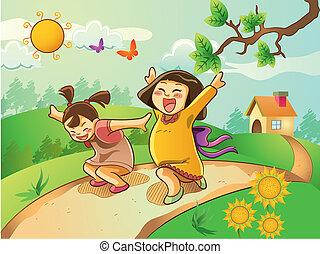 Happy Kids Playing on The Garden - cartoon illustration of...