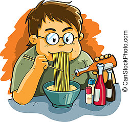 Man Eating Noodles - cartoon illustration of man eating...