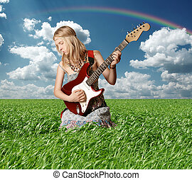 hippie girl with the guitar outdoor - hippie girl with the...