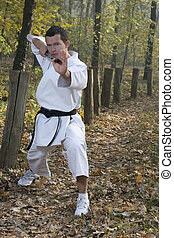 Karate and nunchaku - Karate training with nunchaku-spinning