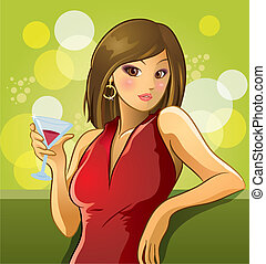Sexy Girl Drinking Wine - cartoon illustration of sexy girl...