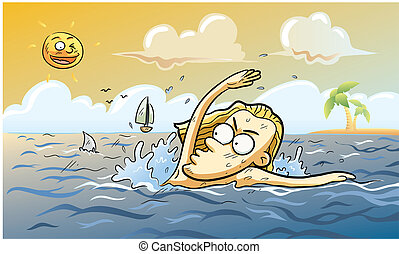 Summer Shark Attack - cartoon illustration of shark attack...
