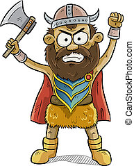 Angry Viking Man - cartoon illustration of angry viking man