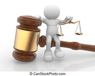 Gavel - 3d people- human character with a justice scale and...
