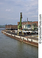 industrial building - old industrial building with harbor...