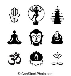 icon-buddha - Set of Oriental icons. Templates of symbols of...