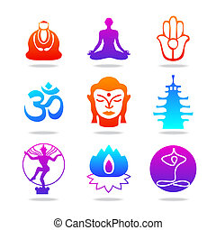 icon-buddha-color - Set of Oriental icons