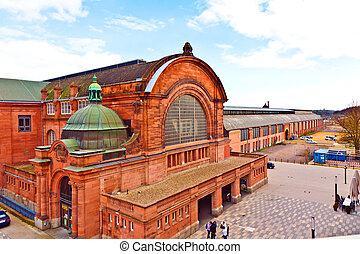 old classic train station in wiesbaden - old classic train...