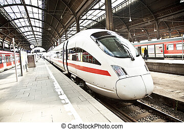 highspeed train in station - modern highspeed train in...
