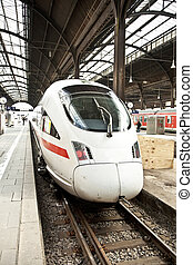 highspeed train in station - modern highspeed train in...