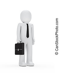 business man with tie and briefcase - 3d business man with...