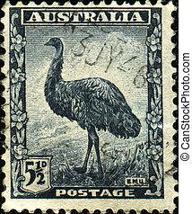 Emu - AUSTRALIA - CIRCA 1942: A stamp printed in Australia...