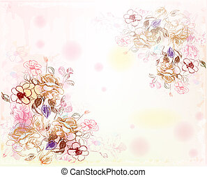 line art roses on the watercolor background