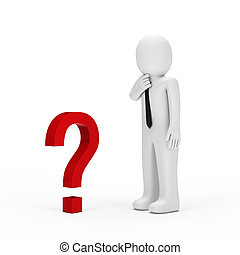 businessman small red question mark