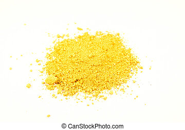 bright ocher pigment - close up of a small portion of bright...