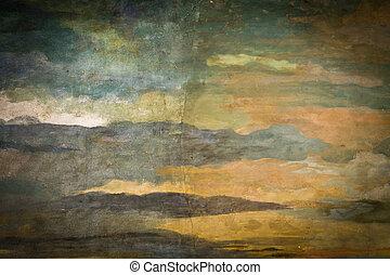 vintage sky painting