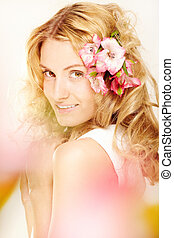 Flower-decorated hairstyle