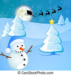 winter scene - christmas card - vector illustration of...