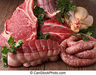 raw meat - assortment of raw meats